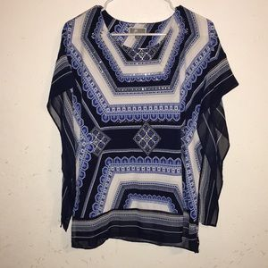 JM collection blue and white blouse sz S